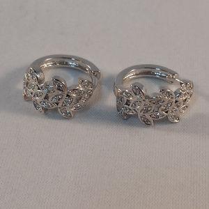 Jewelry - 18K White Gold Zircon Flower Hoop Huggie Earrings